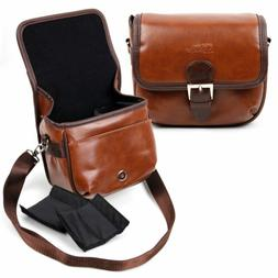 Small Brown PU Lear Bag W/ Inserts for Polaroid Socialmatic
